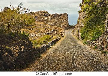Santo Antao island, Cape Verde. Narrow mountain road on Delgadinho mountain ridge leading to Ribeira Grande