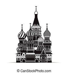 santo, basilico, cattedrale, mosca, vettore, simbolo