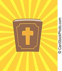 santo, bible., grande, y, viejo, libro, con, cross., nuevo testamento, en, grueso, leather-bound., vendimia, libro, y, rayos, de, sun., bendito, light., libro, es, sobre, god., libro, es, sobre, jesús, christ.