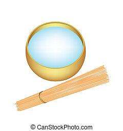 santo, ciotola legno, acqua, bastone, elemosina