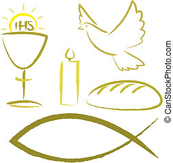 santo, comunione, -, simboli religiosi