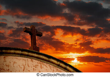 santo, cruz, debajo, un, colorido, cielo