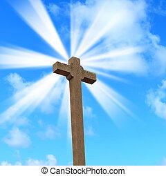 santo, cruz, debajo, un, sol brillante
