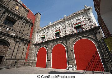 Santo Domingo Church in Pueblo, Mexico. Wide angle shot