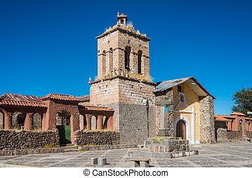 Santo Domingo Church in the peruvian Andes at Puno Peru