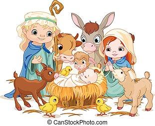santo, familia , en, navidad, noche