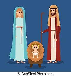 santo, familia , pesebre, caracteres