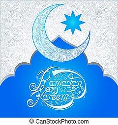 santo, fiesta, musulmán, ramadan, comunidad, mes, diseño,...