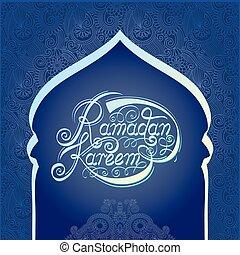 santo, fiesta, musulmán, ramadan, comunidad, mes, kareem