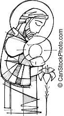 santo, joseph, y, bebé jesús, tinta, ilustración