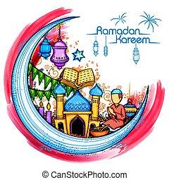 santo, mubarak, fiesta, mes, eid, plano de fondo, islam, ...