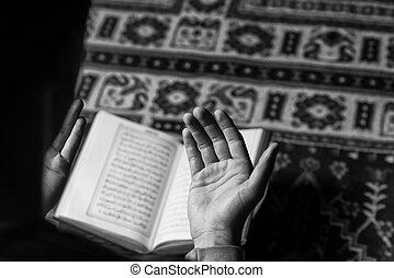 santo, musulmán, corán, islámico, libro, árabe, lectura, hombre