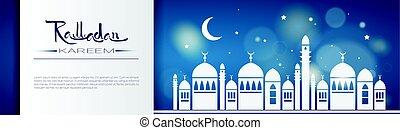 santo, musulmán, ramadan, mes, religión, kareem