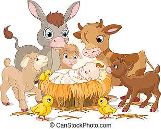 santo, niño, con, animales