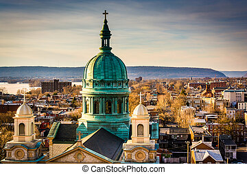 santo, patrick, catedral, parroquia, pennsylvania., garaje, calle, harrisburg, estacionamiento, vistos, sur