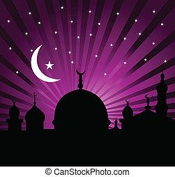 santo, ramadan, saludo, mes, tarjeta, kareem