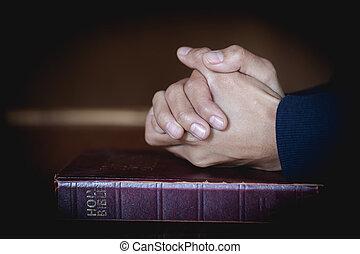 santo, rezando, biblia, religión, conceptos, manos,...