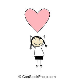 santo, valentine, día, -, lindo, niña, tenencia, corazón