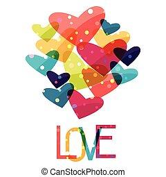 santo, valentine, hearts., plano de fondo, feriado, brillante