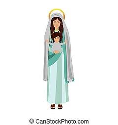 santo, virgen maria, con, bebé jesús