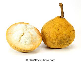 Santol fruit on white background