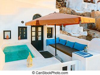 santori., pátio, piscina, natação