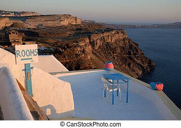 santorini, 印, 部屋, ギリシャ