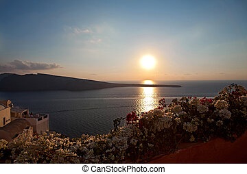 greece, sunset santorini island. Caldera view is summer