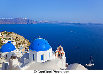 Santorini church (Oia), Greece - vacation background