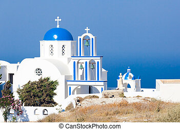 Santorini, church with blue cupola - Santorini, Pyrgos,...