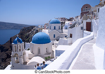 Santorini Churches 6 - Churches in Oia, Santorini, Greece.