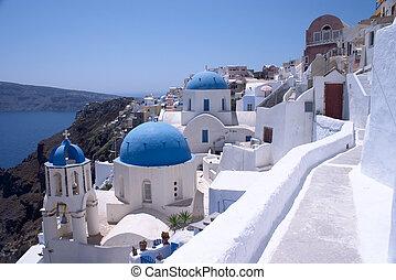 Santorini Churches 6 - Churches in Oia, Santorini, Greece.