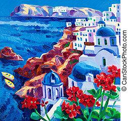 Santorini churches - Original oil painting showing Blue...