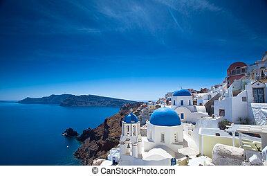 Santorini Churches - Gorgeous Santorini scene in the late...