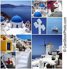 santorini, collage