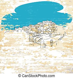 Santorini drawing on wooden background