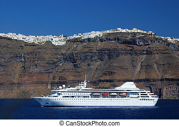 Santorini, Greece - Cruise ship in Santorini island, Greece