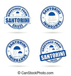 santorini greek island grunge rubber in blue and white color illustration