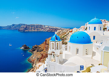 Santorini Island, Greece, Beautiful View of Blue Ocean and...
