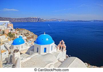 Santorini island Greece - view of Santorini island Greece