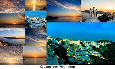 Santorini island, Greece - Sunset at Oia village