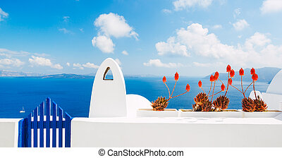 Santorini Island Greece - White Architecture and Blue Ocean,...
