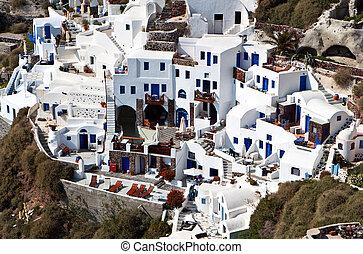 Santorini island in aegean, Greece - Village of Oia and the...