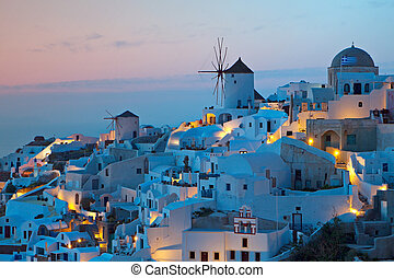 Santorini island in Greece. - After sunset hour at Oia...