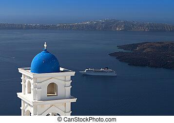 Santorini island in Greece - Traditional campanile at...