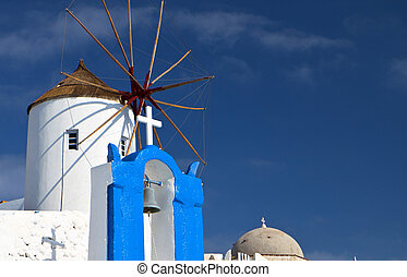 Typical architecture of an island of the cyclades in aegean sea at Greece. The specific is from the Village of Oia at Santorini