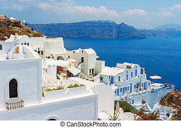 santorini, island., oia., griekenland