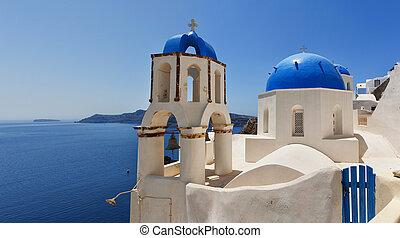 santorini, oia, igreja, panorama