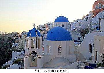 santorini, ondergaande zon , eiland, oia, aanzicht, kerk, griekenland, orthodox