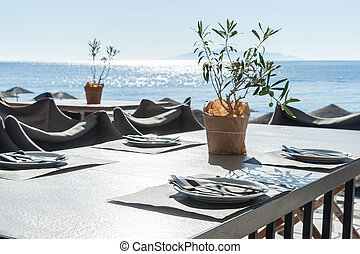 santorini, plage, -, romantique, restaurant